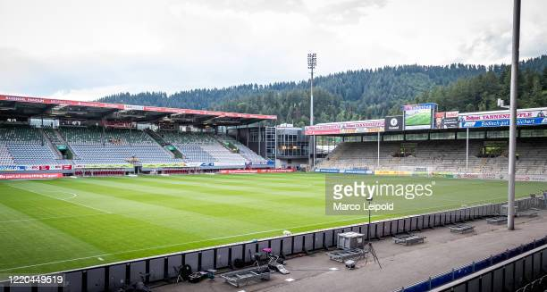 General view of the Schwarzwald-Stadion before the Bundesliga match between SC Freiburg and Hertha BSC at Schwarzwald-Stadion on June 16, 2020 in...