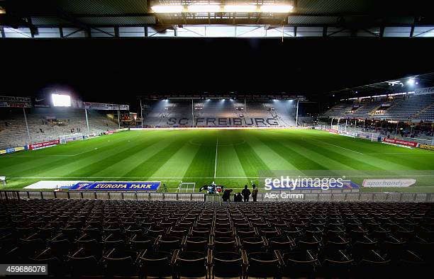 General view of the Schwarzwald-Stadion is seen prior to the Bundesliga match between Sport-Club Freiburg and VfB Stuttgart at Schwarzwald-Stadion on...