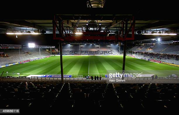 A general view of the SchwarzwaldStadion is seen prior to the Bundesliga match between SportClub Freiburg and VfB Stuttgart at SchwarzwaldStadion on...