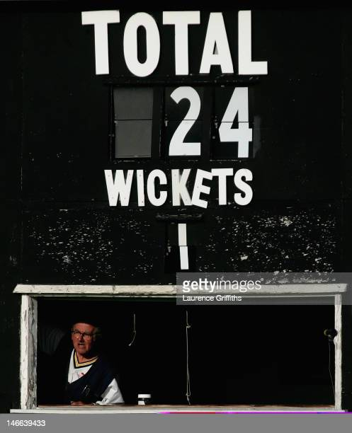 A general view of the score board at Grace Road on July 06 2012 in Leicester England