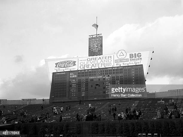 A general view of the scoreboard after a game on November 24 1963 between the Dallas Cowboys and the Cleveland Browns at Municipal Stadium in...