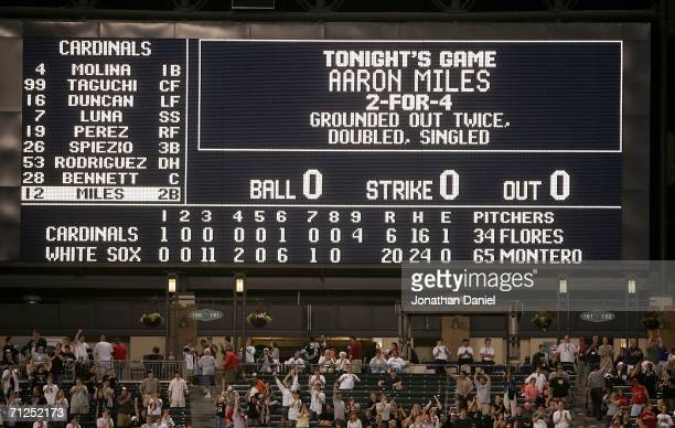 A general view of the scoreboard after Aaron Miles of the St Louis Cardinals flied out to end a game between the Cardinals and the Chicago White Sox...