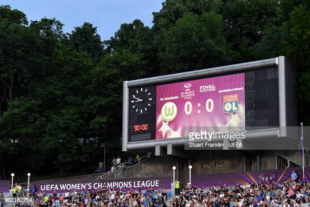 A general view of the scoreboard after normal time finished during the UEFA Womens Champions League Final between VfL Wolfsburg and Olympique...