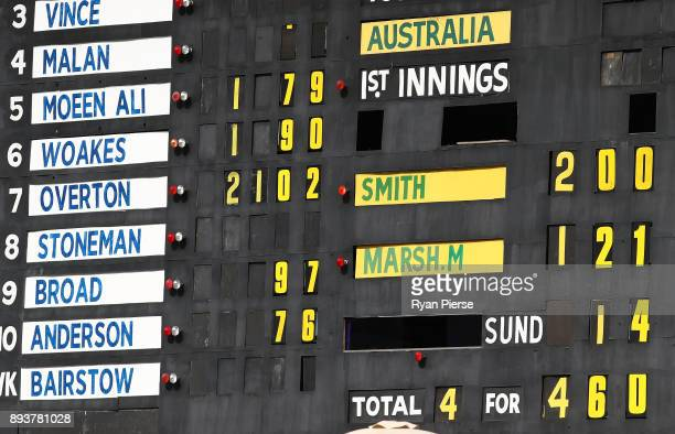 A general view of the scoreboard after Steve Smith of Australia brought up his double century during day three of the Third Test match during the...