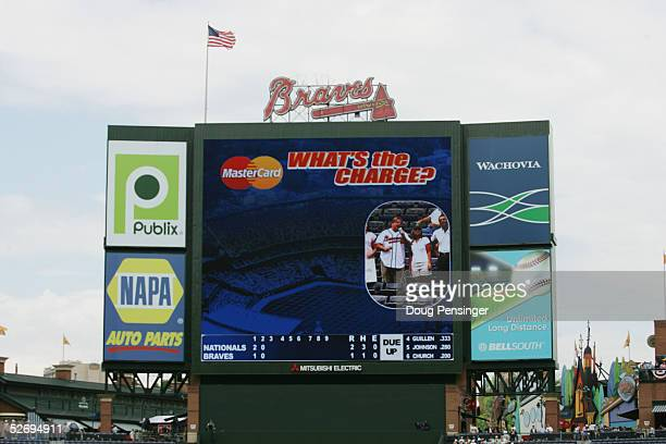 General view of the scoreboard and field as the Atlanta Braves host the Washington Nationals at Turner Field on April 13, 2005 in Atlanta, Georgia....
