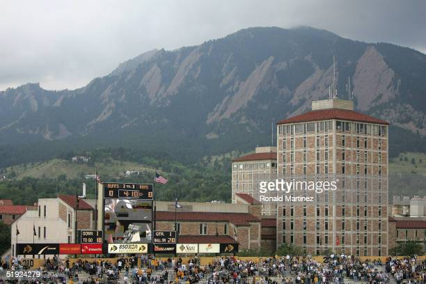 General view of the scoreboard and landscape during the game between the Colorado State University Rams and the University of Colorado Buffaloes on...
