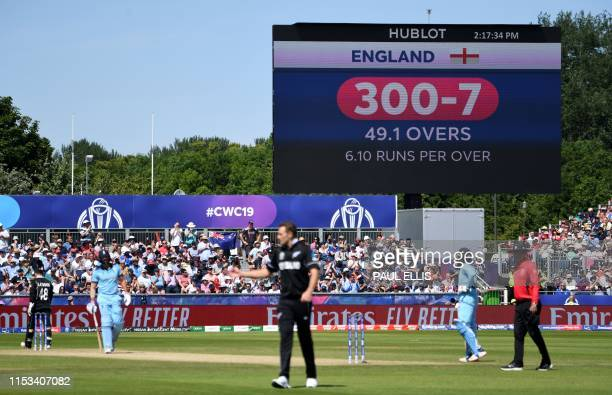 General view of the scoreboard and play during the 2019 Cricket World Cup group stage match between England and New Zealand at the Riverside Ground...