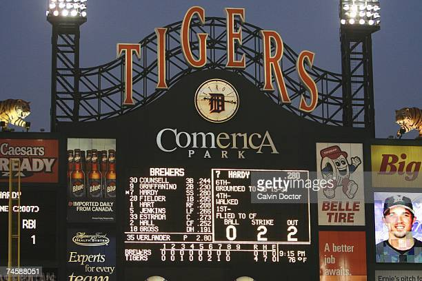 General View of the scoreboard as Justin Verlander of the Detroit Tigers is one out away from pitching a nohitter against the Milwaukee Brewers at...