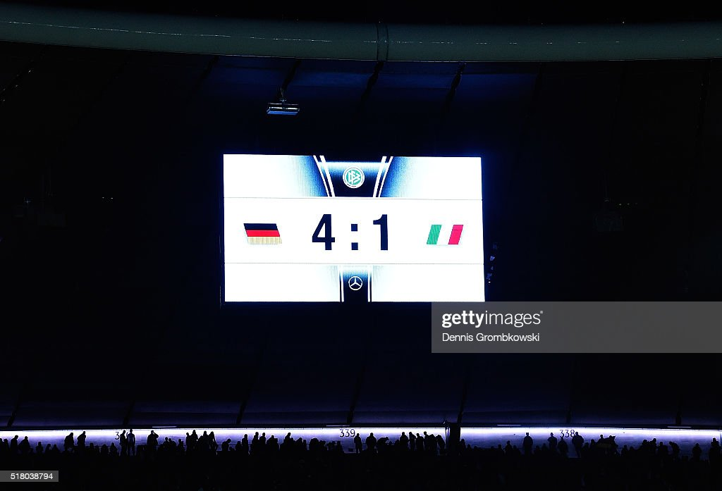 A general view of the scoreboard at Allianz Arena showing the final score after the International Friendly match between Germany and Italy at Allianz Arena on March 29, 2016 in Munich, Germany.