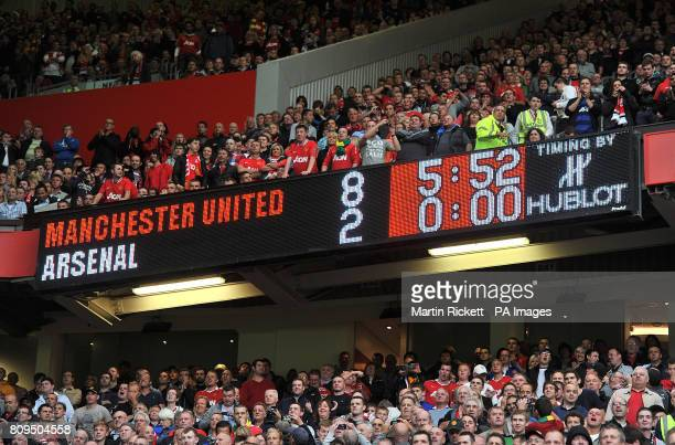General view of the scoreboard at Old Trafford showing the final score of Manchester United 8 Arsenal 2 during the Barclays Premier League match at...