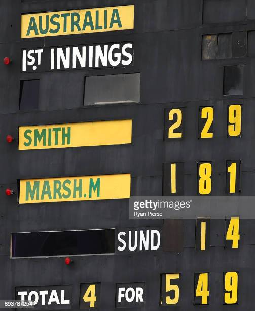 A general view of the scoreboard at stumps during day three of the Third Test match during the 2017/18 Ashes Series between Australia and England at...