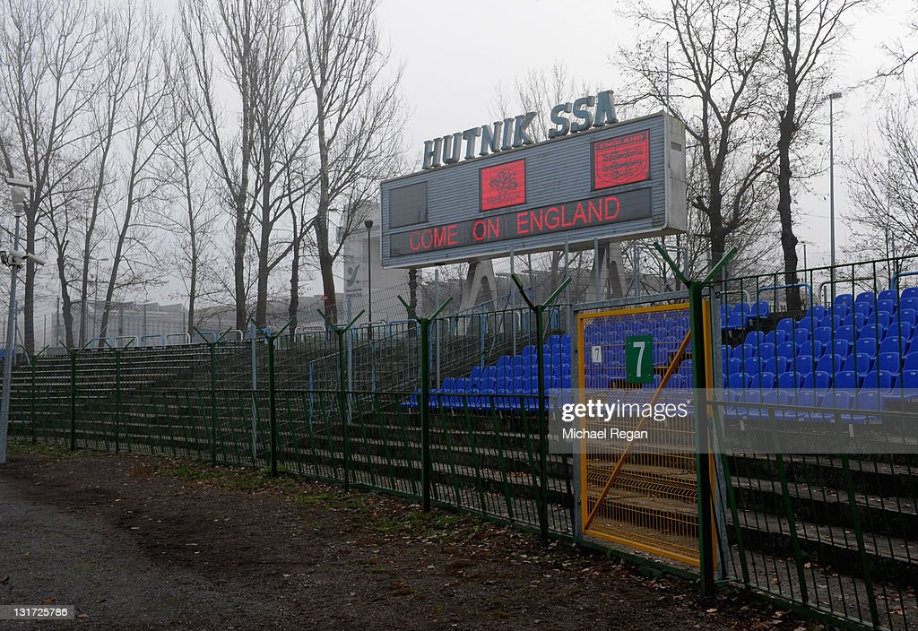 A general view of the scoreboard at the Hutnik Municipality Stadium where the England football team will train during the Euro 2012 on November 7, 2011 in Krakow, Poland.