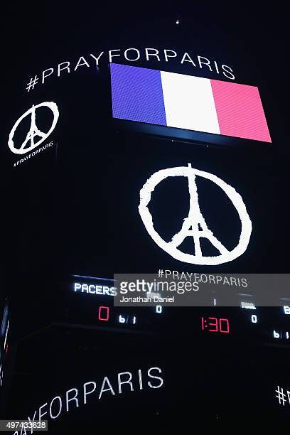 General view of the scoreboard at the United Center as the National Anthem of France is played before the Chicago Bulls take on the Indiana Pacers on...
