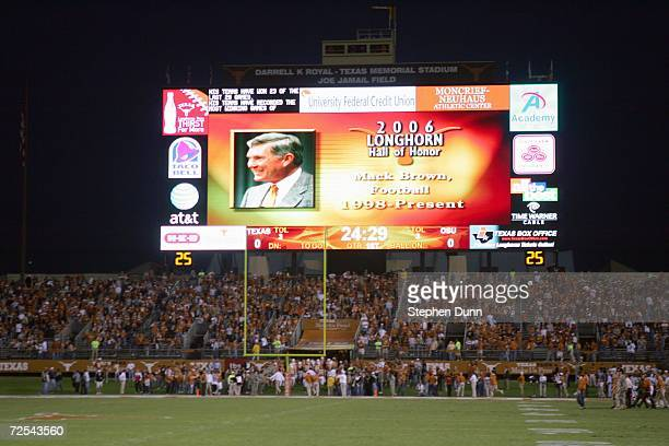 General view of the scoreboard before the game between the Oklahoma State Cowboys and the Texas Longhorns on November 4 2006 at Texas Memorial...