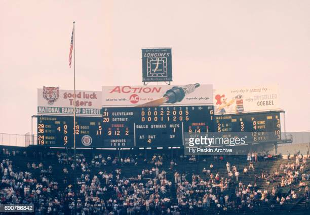 General view of the scoreboard during an MLB game between the Cleveland Indians and the Detroit Tigers on July 4 1959 at Briggs Stadium in Detroit...