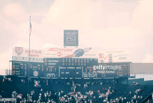 General view of the scoreboard during an MLB game between the Baltimore Orioles and Detroit Tigers on June 28 1959 at Briggs Stadium in Detroit...