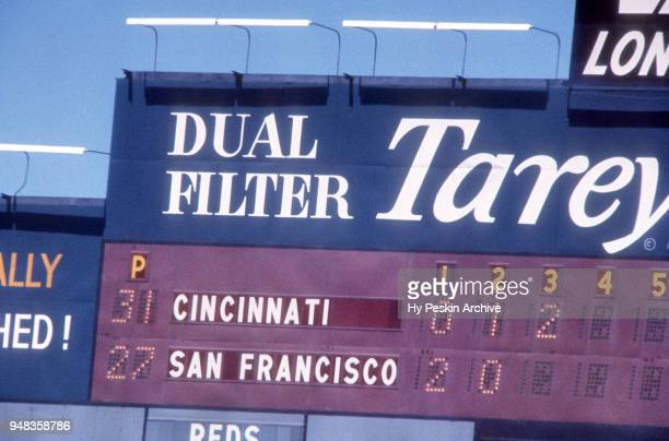 General view of the scoreboard during an MLB game between the Cincinnati Reds and San Francisco Giants on May 30 1961 at Candlestick Park in San...