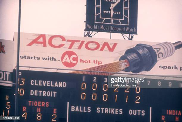 General view of the scoreboard during an MLB game with the Cleveland Indians and the Detroit Tigers on July 4 1959 at Briggs Stadium in Detroit...