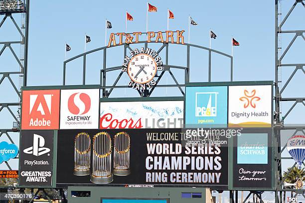 General view of the scoreboard during the 2014 World Series ring ceremony before the game against the Arizona Diamondbacks at ATT Park on April 18...