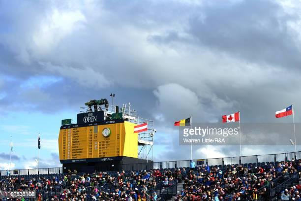 General view of the scoreboard during the first round of the 148th Open Championship held on the Dunluce Links at Royal Portrush Golf Club on July...