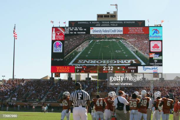 General view of the scoreboard during the fourth quarter of the game between the Texas AM Aggies and the Texas Longhorns at Darrell K RoyalTexas...
