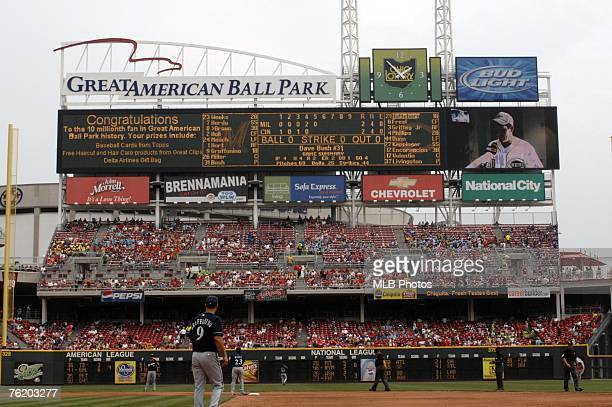 General view of the scoreboard during the MLB game between the Milwukee Brewers and the Cincinnati Reds on July 23 2006 at Great American Ball Park...