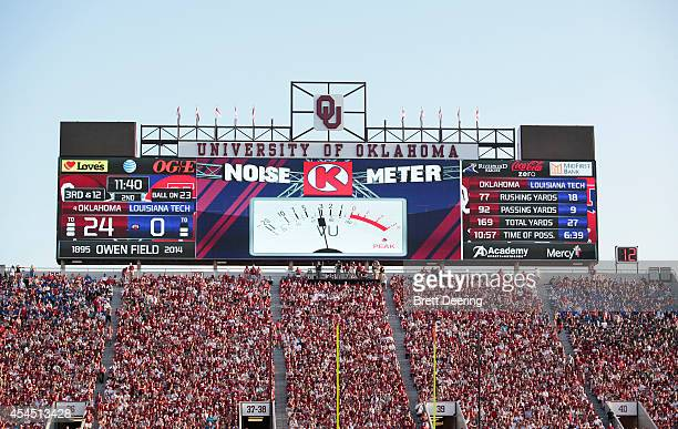 A general view of the scoreboard during the Oklahoma Sooners vs Louisiana Tech Bulldogs game August 30 2014 at Gaylord FamilyOklahoma Memorial...