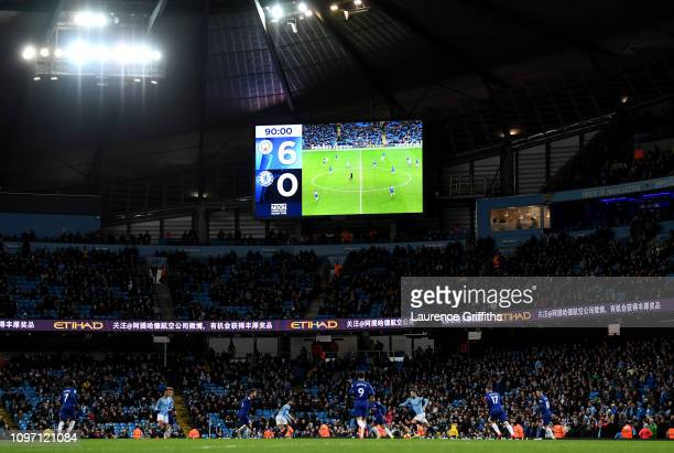 General view of the scoreboard during the Premier League match between Manchester City and Chelsea FC at Etihad Stadium on February 10 2019 in...