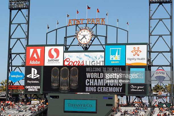 General view of the scoreboard during the San Francisco Giants 2014 World Series Ring ceremony before the game against the Arizona Diamondbacks at...