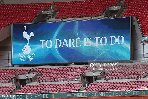 General view of the scoreboard during the Tottenham Hotspur training session at Wembley Stadium on August 17 2016 in London England