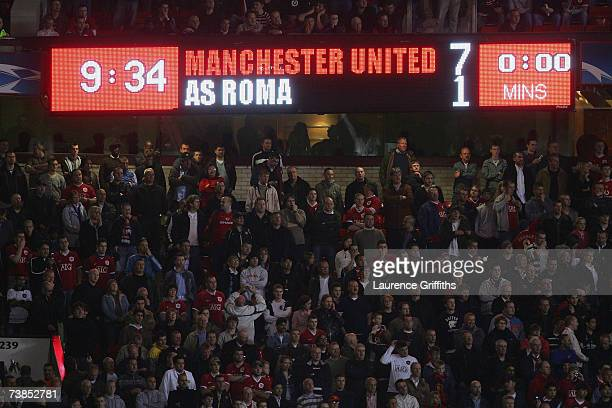 General view of the scoreboard during the UEFA Champions League Quarter Final second leg match between Manchester United and AS Roma at Old Trafford...