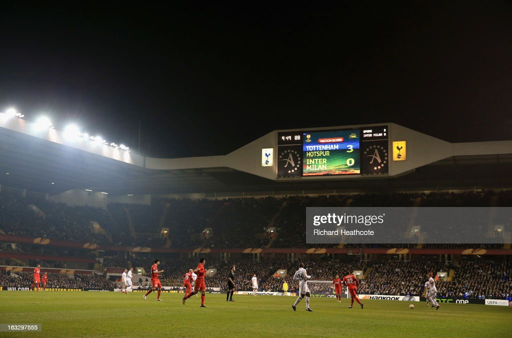 A general view of the scoreboard during the UEFA Europa League Round of 16 First Leg match between Tottenham Hotspur and FC Internazionale Milano at White Hart Lane on March 7, 2013 in London, England.