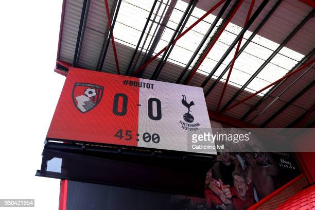 A general view of the scoreboard inside the stadium prior to the Premier League match between AFC Bournemouth and Tottenham Hotspur at Vitality...