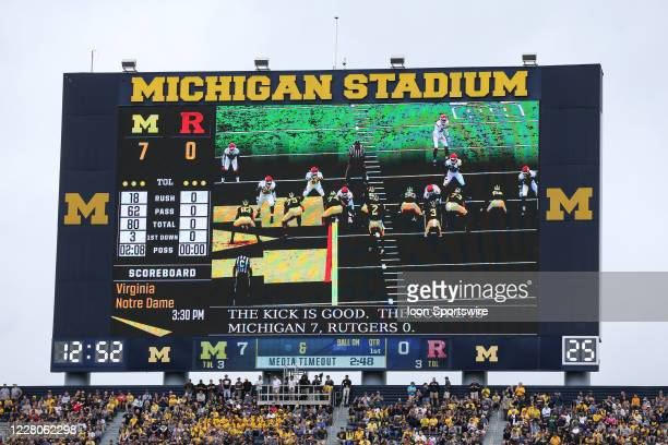 General view of the scoreboard is seen during a regular season Big 10 Conference game between the Rutgers Scarlet Knights and the Michigan Wolverines...