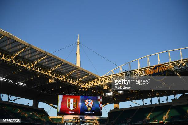 A general view of the scoreboard prior the international friendly match between Peru and Croatia at Hard Rock Stadium on March 23 2018 in Miami...