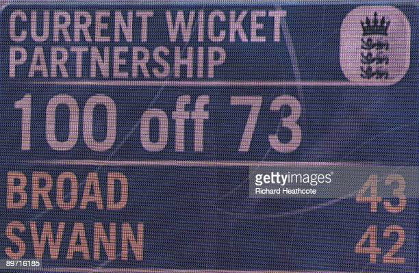 A general view of the scoreboard showing the 100 run partnership by Stuart Broad and Graeme Swann of England during day three of the npower 4th Ashes...