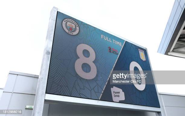 General view of the scoreboard showing the final result during the Vitality Women's FA Cup Fourth Round match between Manchester City Women and Aston...