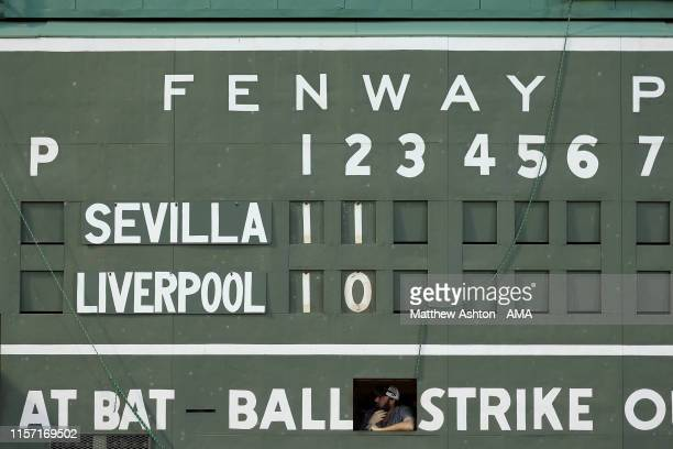 General view of the scoreboard showing the final score of Sevilla 2-1 Liverpool during the pre-season friendly match between Sevilla and Liverpool at...