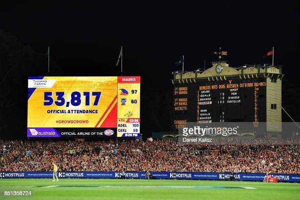 A general view of the scoreboard showing the official crowd attendance during the First AFL Preliminary Final match between the Adelaide Crows and...