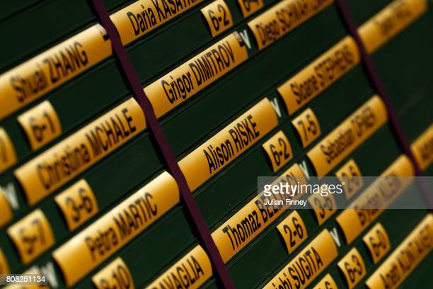 A general view of the scoreborad on day two of the Wimbledon Lawn Tennis Championships at the All England Lawn Tennis and Croquet Club on July 4 2017...
