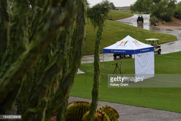 General view of the scoring area during the 2021 Drive, Chip and Putt Regional Qualifier at TPC Scottsdale on September 26, 2021 in Scottsdale,...