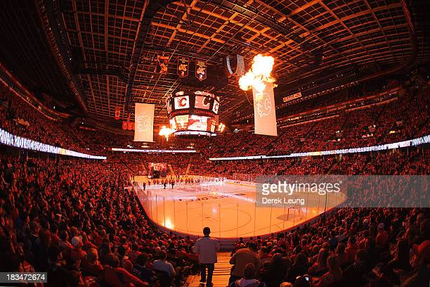 General view of the Scotiabank Saddledome as the Calgary Flames are introduced prior to their home opening NHL game against the Vancouver Canucks at...