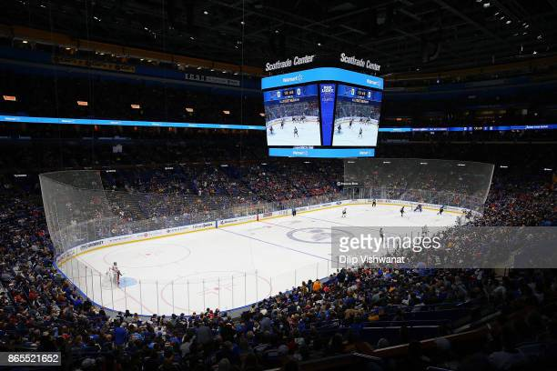 General view of the Scottrade Center during a game between the St. Louis Blues and the Chicago Blackhawkson October 18, 2017 in St. Louis, Missouri.