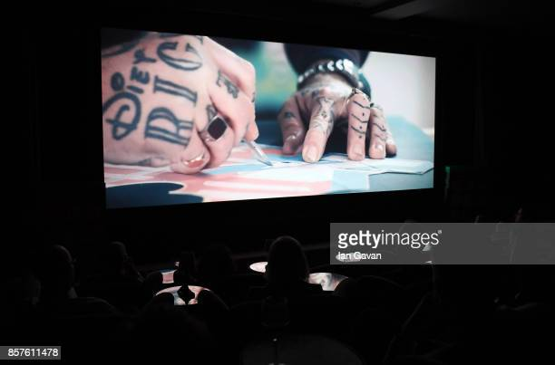 A general view of the screen at the launch of the ad campaign film 'Back To Work' sealing the artistic collaboration between Kaspersky Lab and Ben...