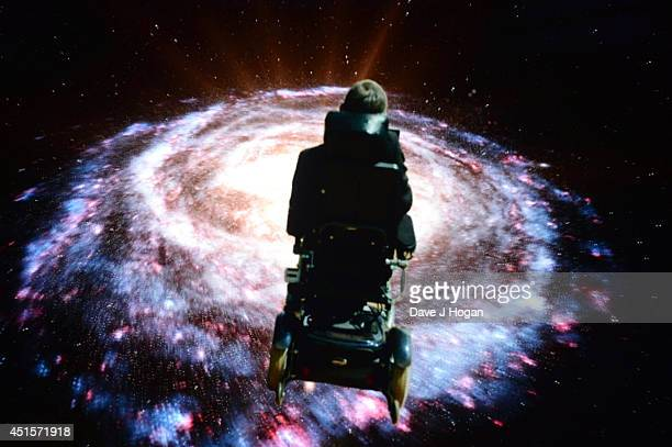 General view of the screen showing physicist Stephen Hawking during the performance on the opening night of Monty Python Live on July 1 2014 in...