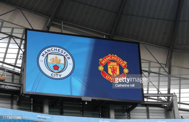 General view of the screen showing the club badges ahead of the Barclays FA Women's Super League match between Manchester City and Manchester United...