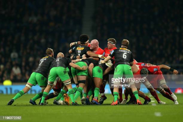 General view of the scrum during the Gallagher Premiership Rugby Big Game 12 match between Harlequins and Leicester Tigers at Twickenahm Stadium on...