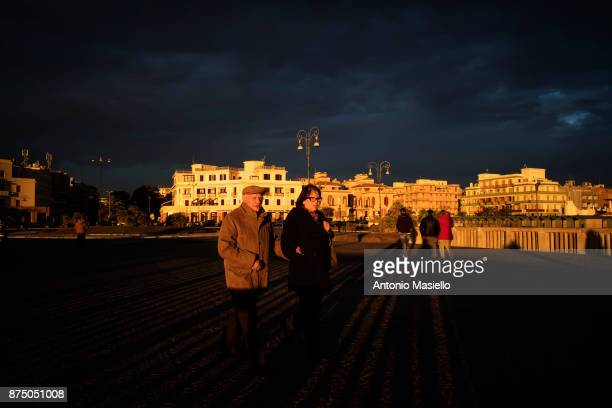 General view of the seafront during the demonstration for freedom of the press in Ostia suburb of Rome Italy on November 16 2017 Libera and FNSI...