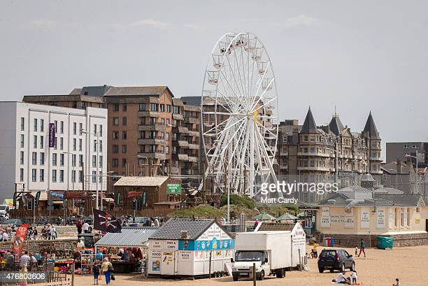 A general view of the seafront is seen as people enjoy the fine weather on June 11 2015 in WestonSuperMare England Many traditional British seaside...