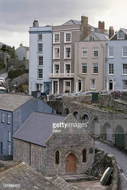 A general view of the seaside town of Tenby including St Julian's chapel Pembrokeshire Wales September 1982